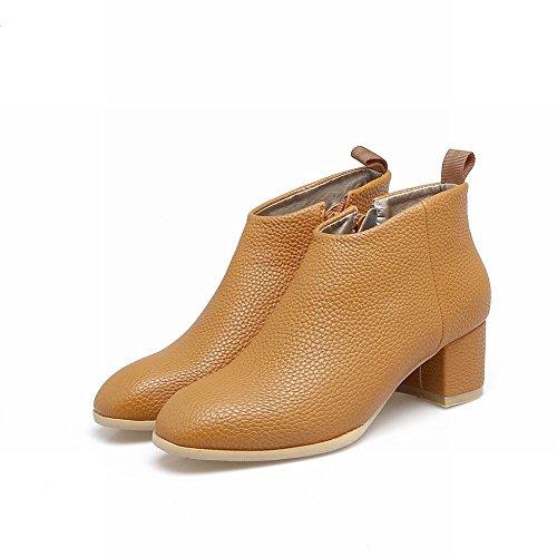 MissSaSa Donna Scarpe col Tacco Metà Casual Moda Shoes marrone giallo
