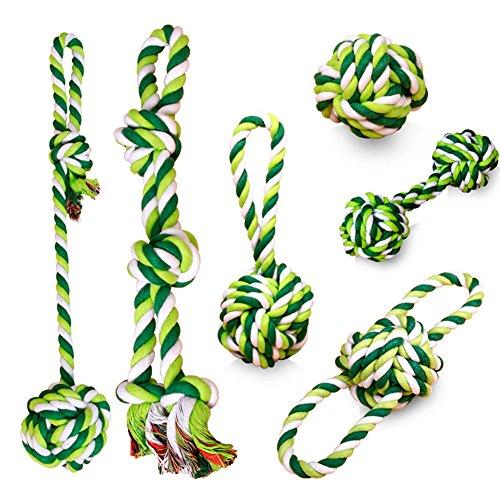 6 Stück Kauen Spielzeug für Hund Robuster Baumwolle Seil Spielzeug Sets (Hund Kauen Spielzeug)