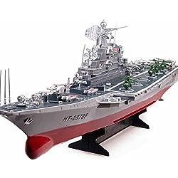XUEQIN Niños Barco de juguete eléctrico Barco de control remoto de gran tamaño Barco rápido de lancha rápida Barco de guerra Barco de aviación Portaaviones Modelo militar Barco de control remoto ( Color : 1 )