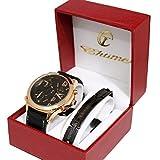 Geschenkbox mit Armbanduhr, Herren, großes Zifferblatt, Only the Brave, 3-fach-Anzeige, Panzerkette aus Stahl