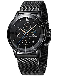 Relojes Hombre Relojes de Pulsera Deportivos Militar Cronógrafo Malla Reloj de Acero Inoxidable Negro Caballero Calendario