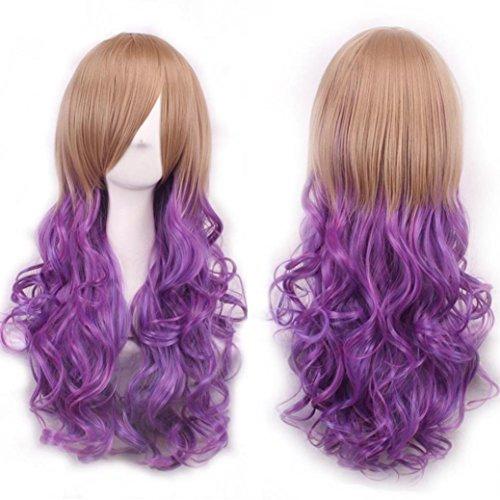 FEITONG Frauen Perücken Lange Haare Perücke Curly Wavy Synthetische Anime Cosplay Perücken (Länge: 75cm, E) (Rockstar Kostüm Weiblich)