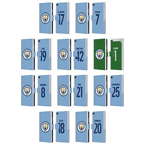 Officiel Manchester City Man City FC 2017/18 Joueurs Kit Domestique Groupe 1 Étui Coque De Livre en Cuir pour Huawei Téléphones