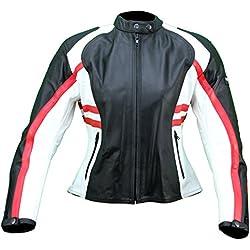kc016cazadora moto mujer piel rojo blanco negro Karno–Protecciones Desmontables
