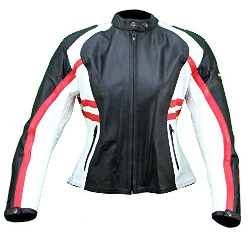 kc016cazadora moto mujer piel rojo blanco negro Karno-Protecciones Desmontables