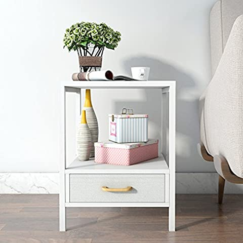 Lifewit 2-tier Modern Square Side / End Table / Night Stand / Coffee Table, White (2-tier With