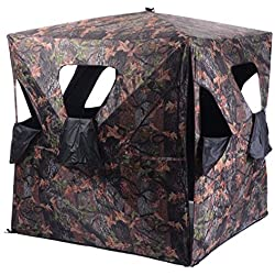 Tangkula Ground Hunting Blind Portable Deer Pop Up Camo Hunter Weather Proof Mesh Window by Tangkula