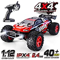 VATOS RC Car 1:12 Remote Control 50M 4x4 4WD 2.4Ghz Radio Control Car 40km/h Monster Truck Rock Racing Crawler High Speed Off Road RC Buggy Desert Electric Vehicle Toy Hobby Gift with LED Light