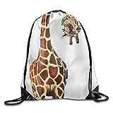 HLKPE Drawstring Backpack Giraffe Print Rucksack Shoulder Bags Gym Bag