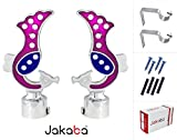JAKABA Pink, Blue Premium Quality Stainless Steel and Alloy Curtain Finials with Heavy Supports - PACK of 4 Pcs. (Finials : 2 Pcs + Supports : 2 Pcs) : Curtain Brackets / Holders for Window / Door - JKB5551PK