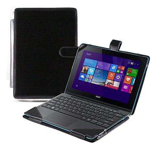Navitech schwarzes bycast Leder Book Style Case / Cover / Hülle für das Acer Aspire Switch 10 E