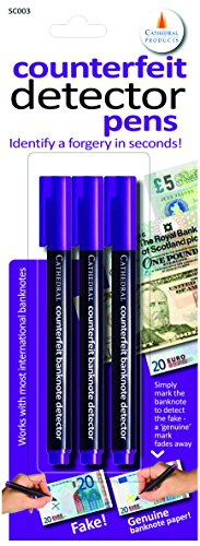 Cathedral Counterfeit Note Detector Pen Pack of 3