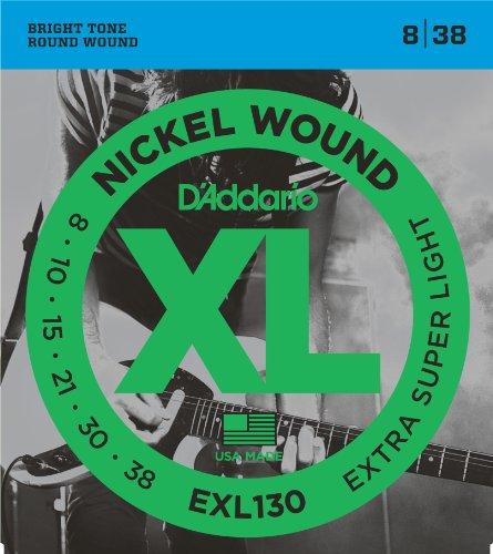 D'Addario EXL130 Satz Nickelsaiten für E-Gitarre 008' - 038' Extra Super Light