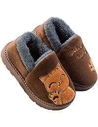 1f807aa5c54a6 Chat Doux Hiver Peluche Pantoufles en Coton Chaussons Fille Garcon Slip sur  Intérieure Maison Chaussure Accueil