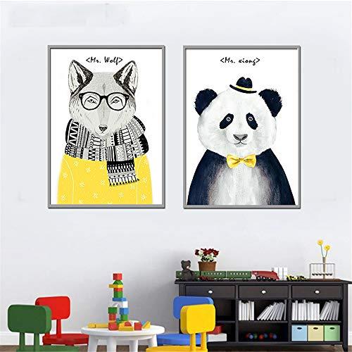 Rjjwai Schöne Bier Und Löwen Tiere Cartoon Bilder Wandkunst Leinwand Malerei Poster Und Drucke Wandbilder Für Wohnzimmer 2 Stücke Schlafzimmer -