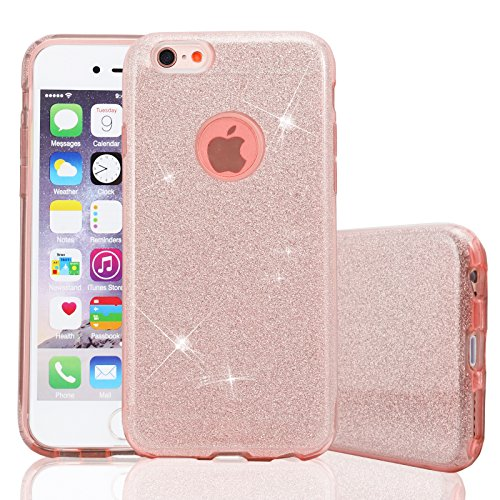 LivhÒ | cover glitter rosa per iphone 6 plus / 6s plus – custodia morbida con brillantini - case in gel tpu ultra slim 3 in 1
