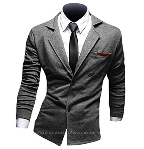 Jeansian Hommes Manteau Personality Fashion Design Couleur Unie Leisure Suit Jacket 8980 LightGray