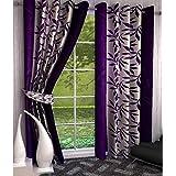 Srk Trendz 1 Piece Kolawari Polyester Eyelet Window Curtain (Purple, 4 x 5)