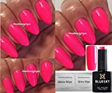 BLUESKY Neon 14 Bright Pink Summer Party Girl Nagellack-Gel UV LED Soak Off 10 ml plus 2 LuvliNail Shine Tücher