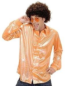 WIDMANN Camiseta con Tejido holográfico Naranja Adulto Carnaval
