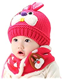 Zhouba bambine ragazzi inverno caldo berretto in pile Cartoon Rabbit Beanie  sciarpa set 990200e6a4f0