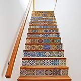 LIZHONGXUAN Farbe Simulation Fliese Kreative Einfache Antike Alte 13 Stück Familie Treppen Aufkleber Wasserdichte Wandaufkleber 100 * 18 cm * 13 Stücke