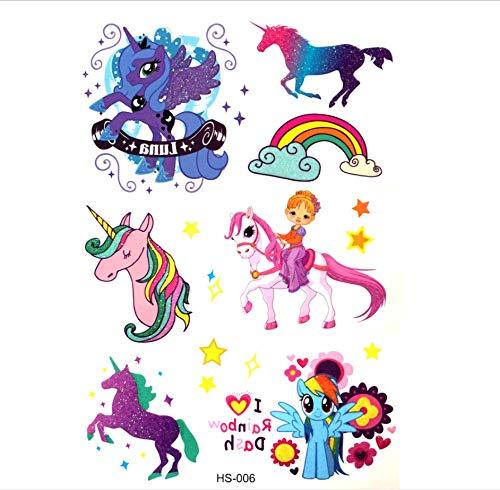ruofengpuzi Nettes Einhorn Wasserdicht Temporäre Tätowierung Pegasus Falsche Tätowierung Kind Prinzessin Tattoo Body Art Lolita Pirat Spielzeug
