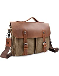Newhey Mens Vintage lienzo cuero mensajero portátil bolsa grande XL tamaño 15.6inch Retro ordenador maletín asa hombro Viajes Messenger bolsas para hombre 40(L) X 30(H) X 14(W) cm