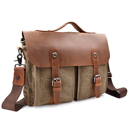 NEWHEY Herren Vintage Umhängetasche Laptoptasche XL Messenger Bag große Größe 15,6 Zoll Laptop Aktentasche Schultertasche Arbeitstasche Notebooktasche aus Canvas und Leder 40 x 30 x 14(cm) Braun (Messenger Casual Aktentasche)
