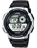 Casio with 5 Alarms and 100m Water Resistant Men's Digital Watch with White Dial Digital Display and Black Resin Bracelet AE1000W/1A2V