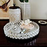 #8: Stunning Decorative Round Clear Glass Crystal Tray with Strong Metal Base & Reflective Mirrored Top / Crystal Platter / Crystal Serveware - By Marigold Stores
