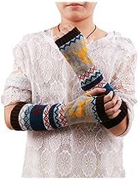 HuntGold gants tricot hiver cerf motif long souple mitaine pour femme