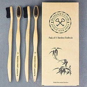 4er Pack Bambus Zahnbürste by BLISSANY® – aus nachhaltigem Bambus-Holz, 100% BPA-frei, vegan, umweltfreundlich, Set bestehend aus 4x Bambus Zahnbürsten, für gesunde und weiße Zähne (4 Stück)