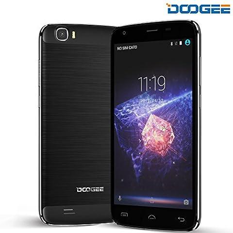 Dual Sim Smartphone, DOOGEE T6 Pro Ohne vertrag Smartphones - Android 6 Outdoor Handy with 6250mAh 5.5 Zoll HD Bildschirm Anzeige - 3GB RAM + 32 GB ROM - 13MP+5MP Kamera (Schwarz)