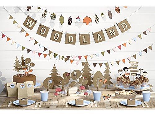 XXL Party Deko Set Waldtiere Kindergeburtstag für 12 Personen (90 teilig) Natur Mädchen Junge