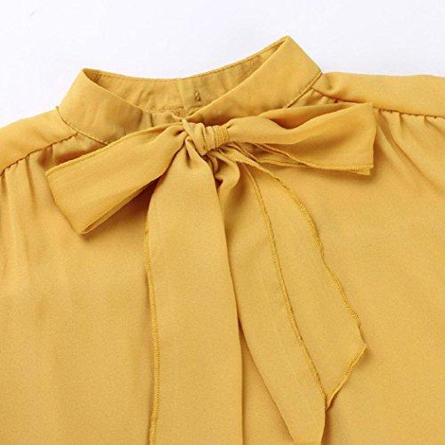 Donne Camicetta,EUZeo Maglietta casual con fiocco in Chiffon Giallo
