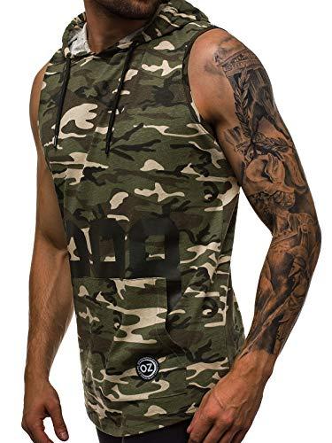 OZONEE Mix Herren Tanktop Tank Top Tankshirt T-Shirt Unterhemden Ärmellos Muskelshirt Kapuze 777/172BO GRÜN-CAMO L -