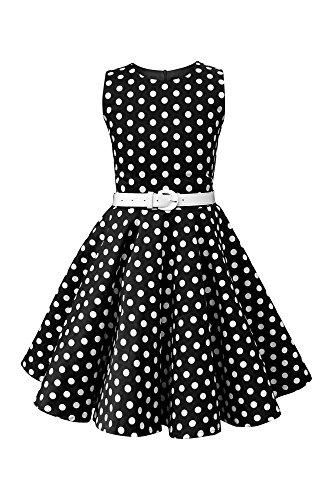 BlackButterfly Kinder 'Audrey' Vintage Polka-Dots Kleid im 50er-J-Stil (Schwarz, 9-10 J / 134-140) 50er Jahre Stil Kleid