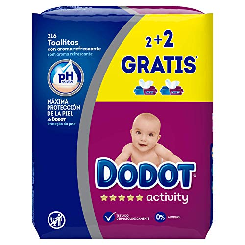 Dodot Activity Toallitas - Paquete de 4 x 54 Toallitas - Total 216 toallitas