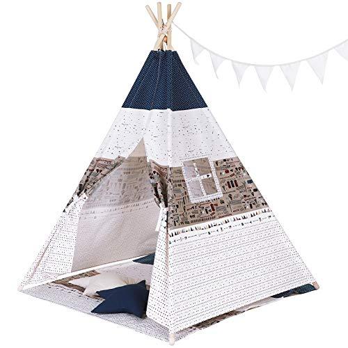 SONGMICS Indianerzelt, Tipi für Kinder, tragbares Spielzelt, mit Fenster, Fußbezüge, Wurfkissen, Dekofahnen, Tragetasche, Versteck für bis zu 3 Kinder, LTP01EU