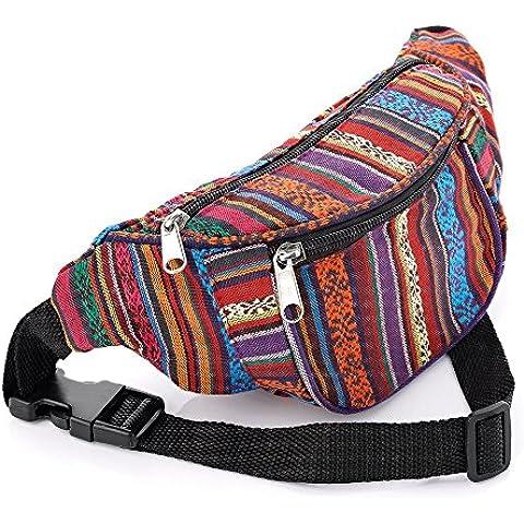 Multi Colour Tribal Print Coloured Hip Belt Bum Bag - Tribal Pouch