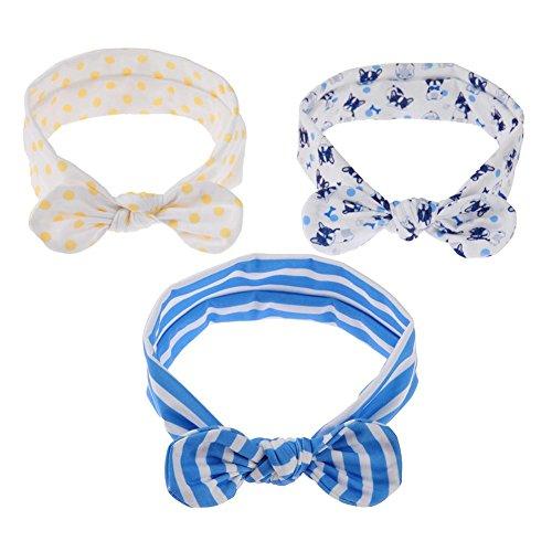 Domybest 3/Set niedliche Baby Baumwolle Schleife Ohr elastisches Haarband Infant Mädchen Haarband Style C (Ohr-schleife)