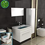 Badezimmer Badmöbel Set in Weiß Hochglanz, 1x Keramik Waschbecken (60 cm) mit Nano Beschichtung, 1x Unterschrank, 1x Spiegel/Modernes Waschtisch, Waschplatz
