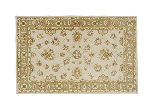 RubanHome Vaughn Collection VH-21 Ivory Lt. Green Handmade Area Rug, 5ft x 7.6ft/150cm x 230cm