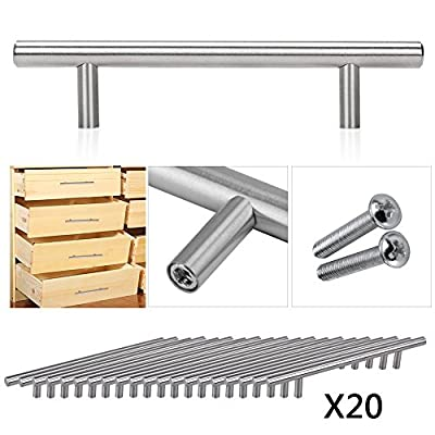 OGORI 20 x Brushed Stainless Steel T Bar Handles Kitchen Cup Board Cabinet Door Knob (96 hole centres / 150mm long)