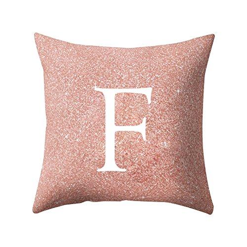 Quanjucheer, cuscino, per casa, ufficio, auto, motivo: lettere dalla a alla z, cuscino decorativo, morbido e comodo, rosa, f