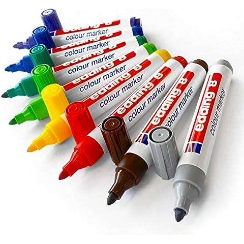 Edding-Pennarelli per bambini, punta a proiettile Jumbo Fibrepen, 3,0 mm, confezione da 8 - Proiettile Tip Marker Pen