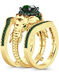Silvernshine Milgrain Halo 9K Yellow Gold Plated 1.2Ct Round Green Garnet CZ Diamond Elephant Ring