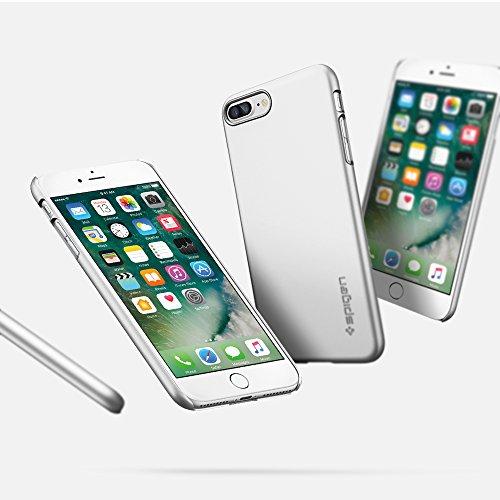 iPhone 7 PLUS Hülle, iPhone 8 PLUS Hülle, Spigen® [Thin Fit] Passgenaues [Schwarz] Premium-Case Schutzhülle für Apple iPhone 7 PLUS / iPhone 8 PLUS Case Cover - Black (043CS20471) Silber