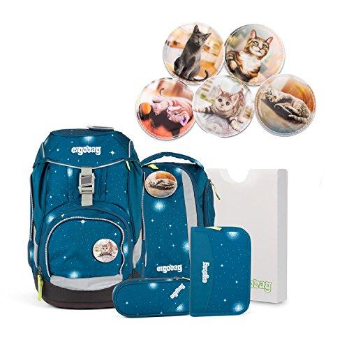 Preisvergleich Produktbild Ergobag pack GALAXY Special Edition - Schulrucksack Set 6 tlg. SternenwanderBär - verschiedene Kletties (SternenwanderBär PACK Katzen)